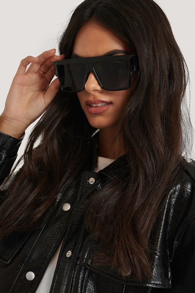 Black Oversize Wide Screen Sunglasses