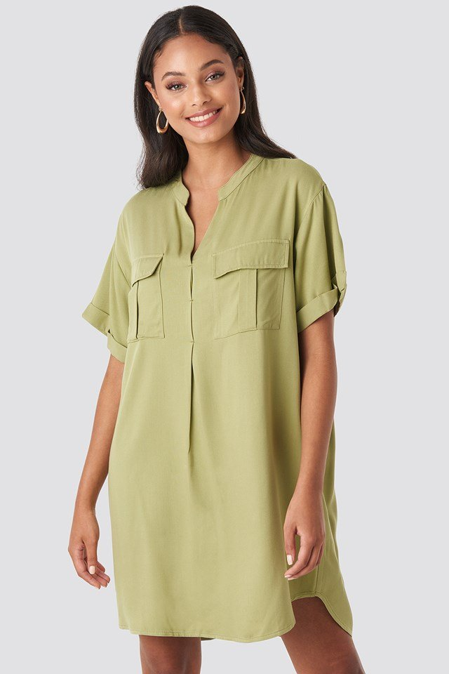 Oversized Cargo Tunic Dress Green