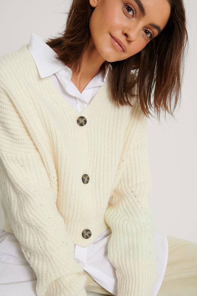 Offwhite Oversized Cropped Cardigan