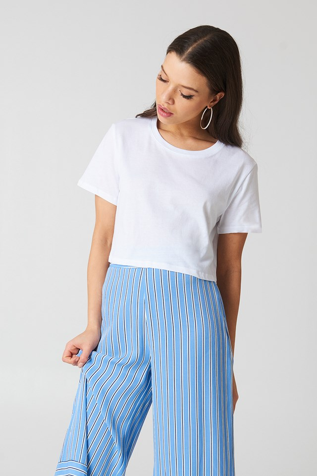 Oversized Cropped Tee White