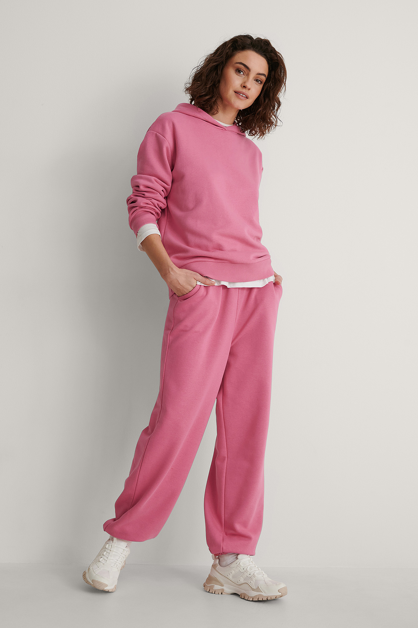 Pink Organic Oversized Drawstring Sweatpants