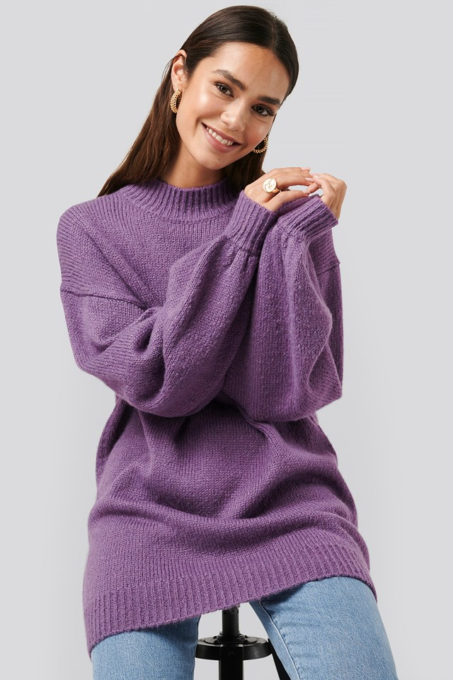 Purple Oversized Long knitted Sweater