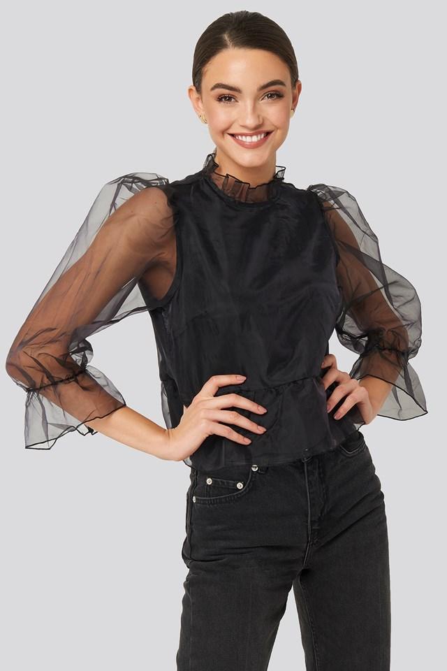 Black Oversized Organza Puff Sleeve Top
