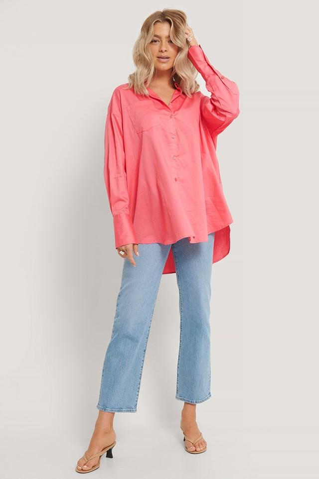 Oversized Pocket Shirt Strong Pink