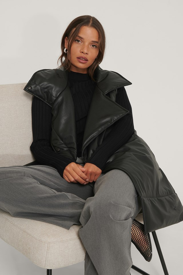 Oversized PU Vest Black