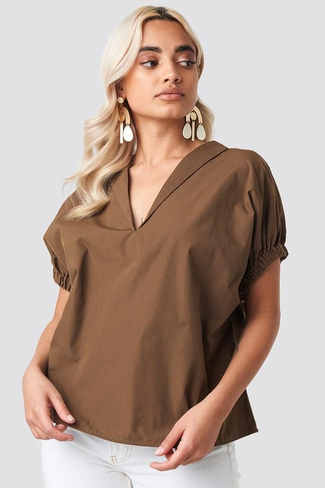 Oversized Puff Short Sleeve Shirt Brown