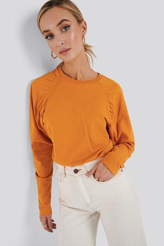 Oversized Raglan Sleeve Detailed Sweater Orange