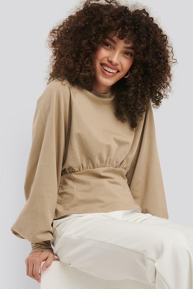 Oversized Raglan Sleeve Sweater Beige