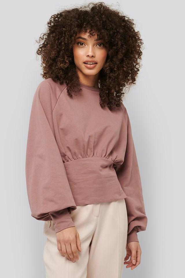 Oversized Raglan Sleeve Sweater Dusty Dark Pink