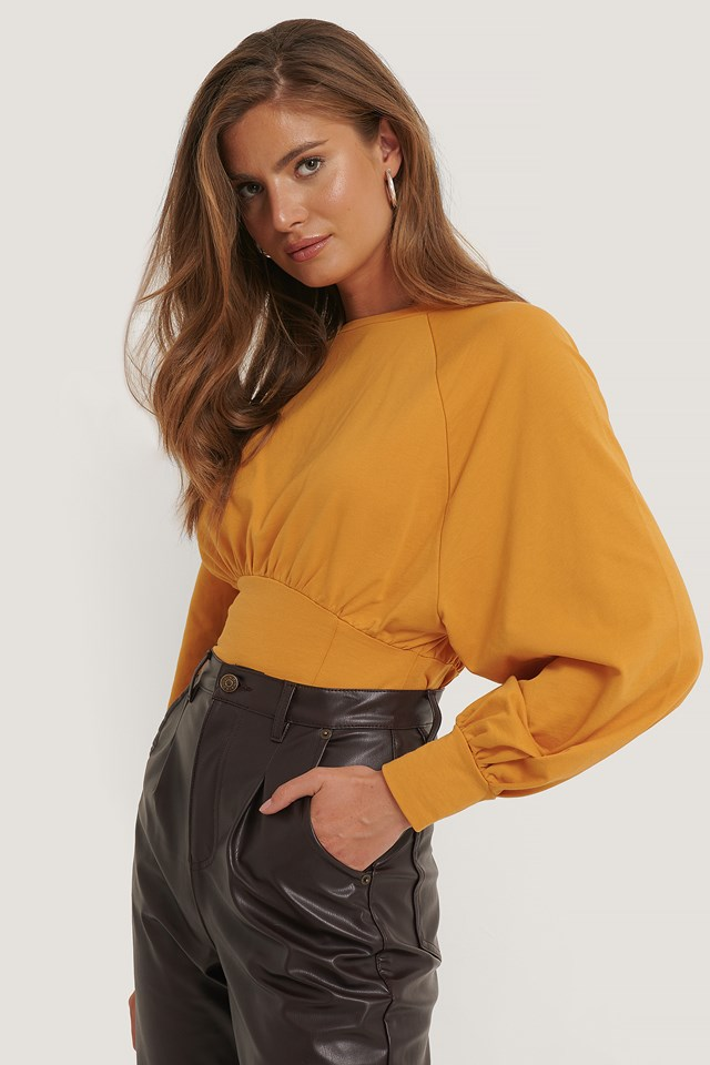 Oversized Raglan Sleeve Sweater Mustard