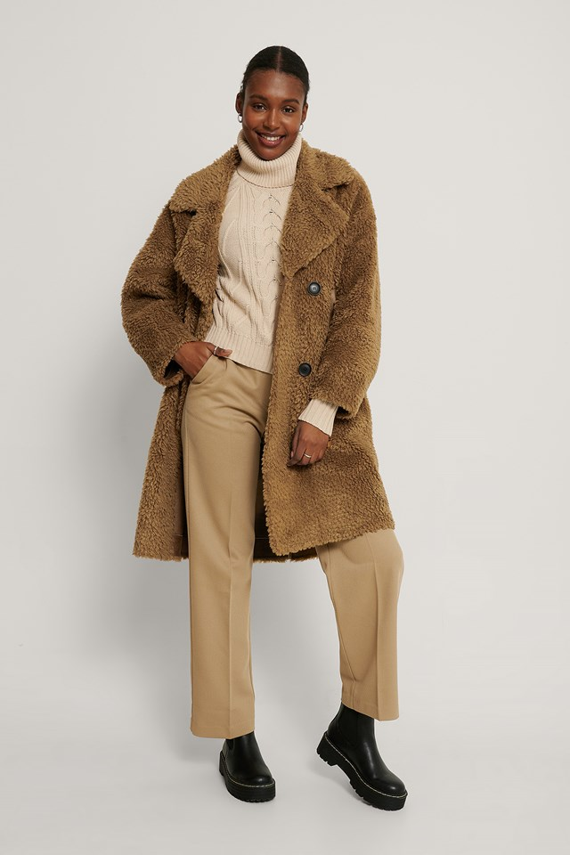 Oversized Teddy Pu Detail Coat Brown
