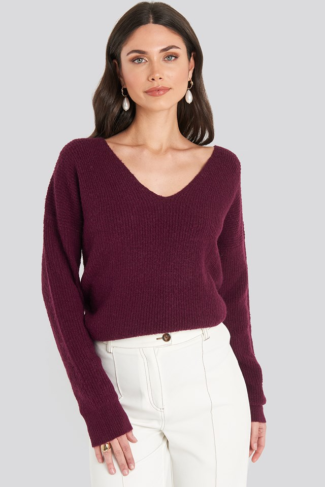 Oversized V Neck Knitted Sweater Bordeaux