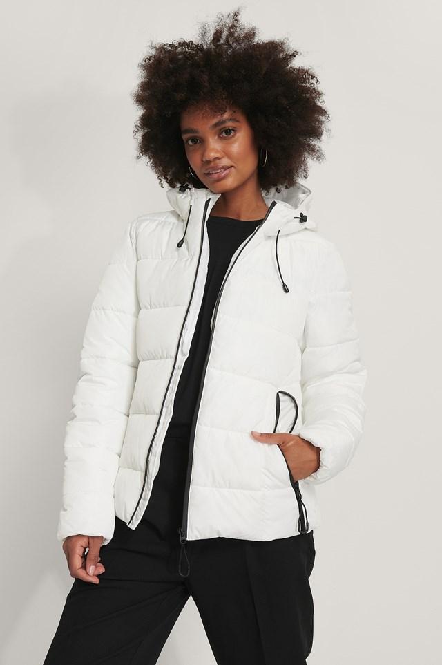 White Padded Zipper Detail Jacket