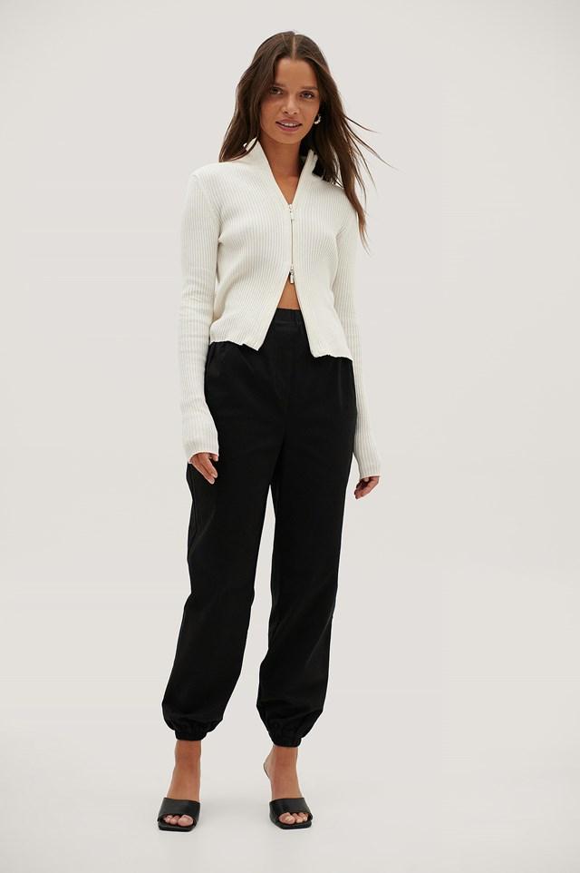Ruched Pocket Chino Pants Black