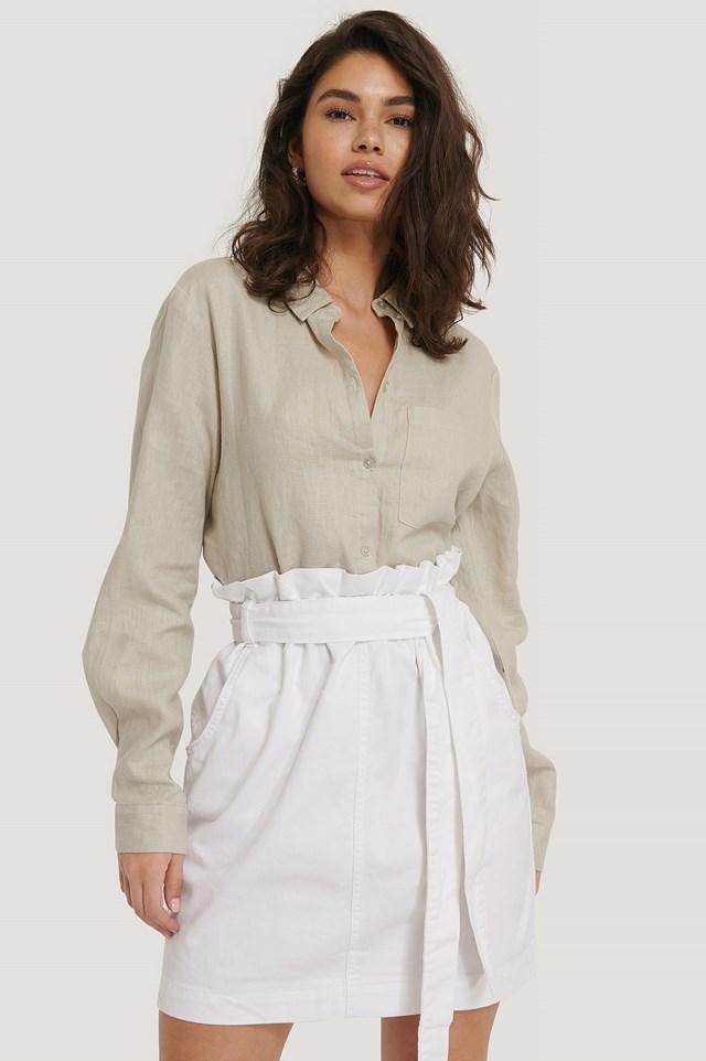 White Paper Bag Waist Denim Mini Skirt
