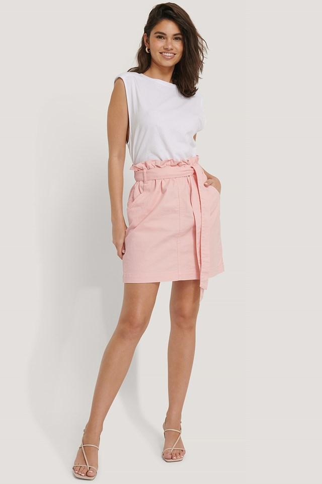 Paper Bag Waist Denim Mini Skirt Pink
