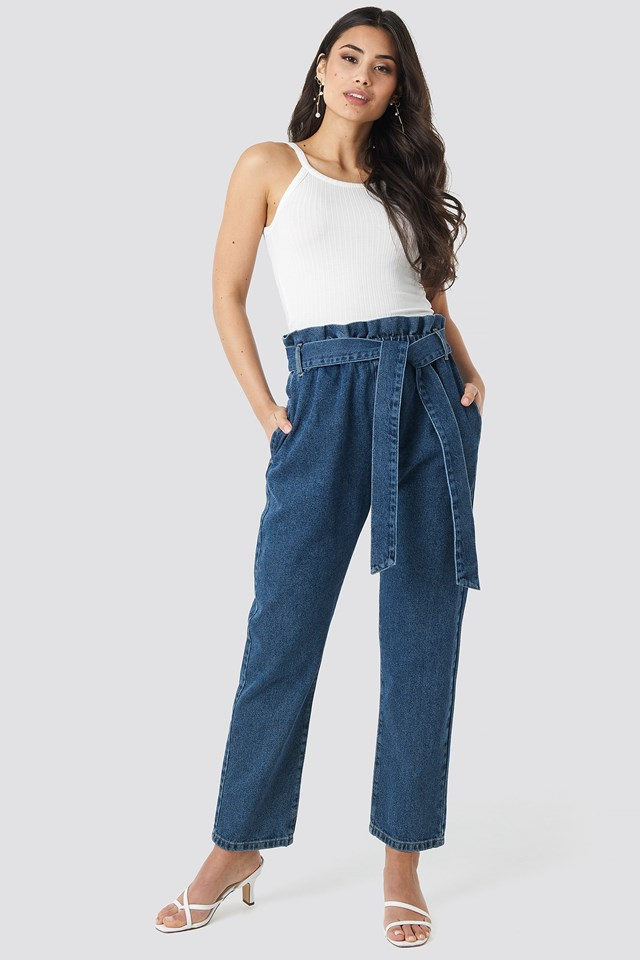Mid Blue Paper Bag Waist Mom Jeans