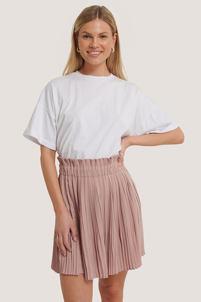 Dusty Pink Paper Waist Mini Skirt
