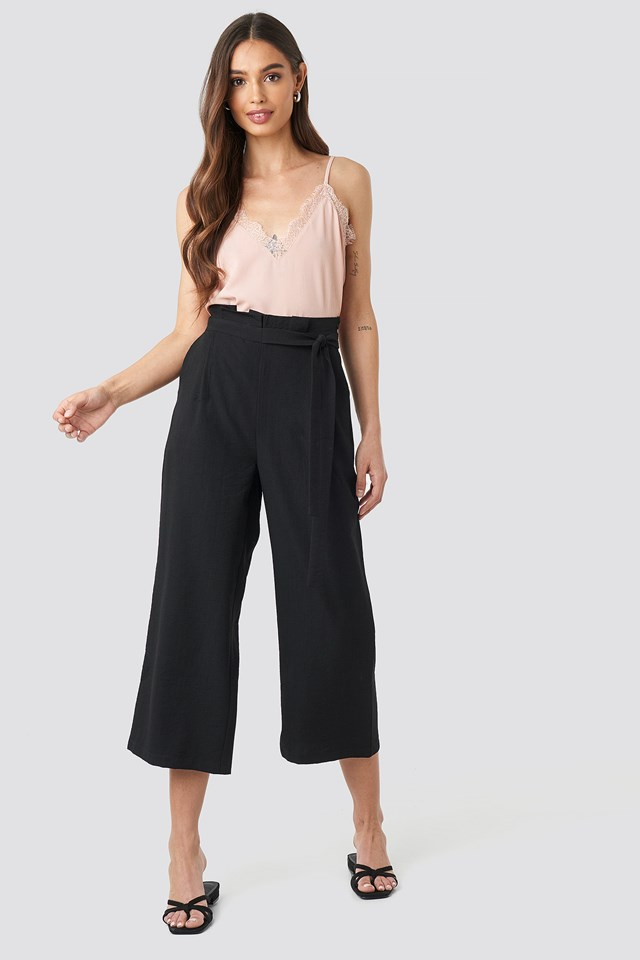 Black Paperwaist Self-Tie Pant