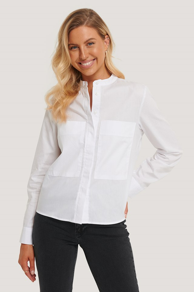 Patch Pocket Band Collar Shirt White
