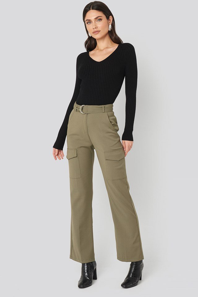 Khaki Green Patch Pocket Belted Pants