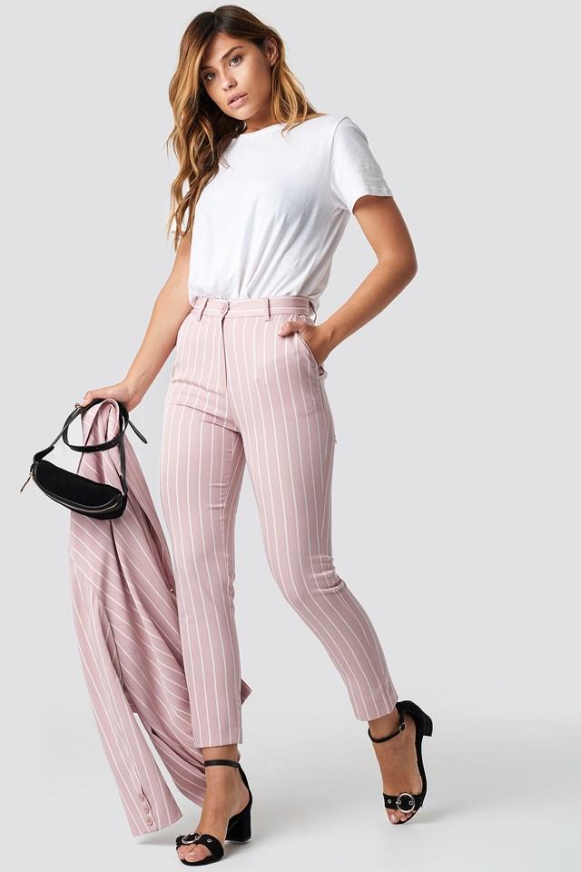 Stripe Pink Striped Suit Pants