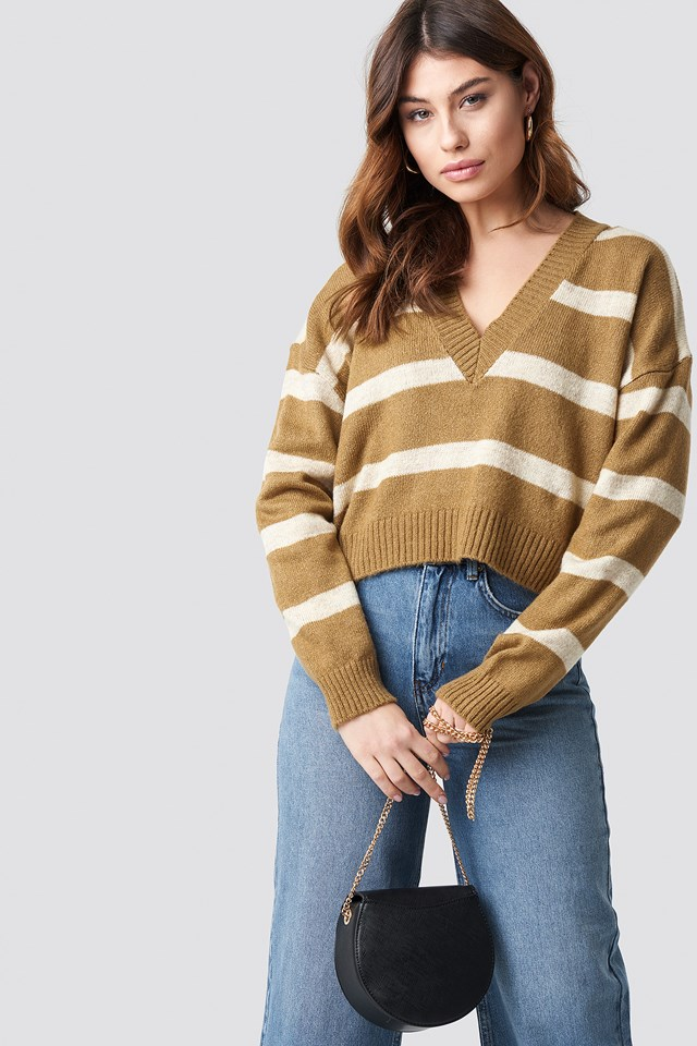 Pinstriped V-neck Knitted Sweater Beige