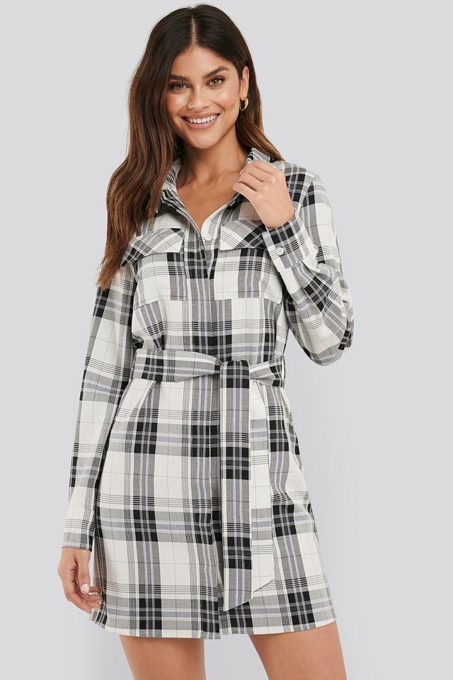Plaid Belted Shirt Dress Check