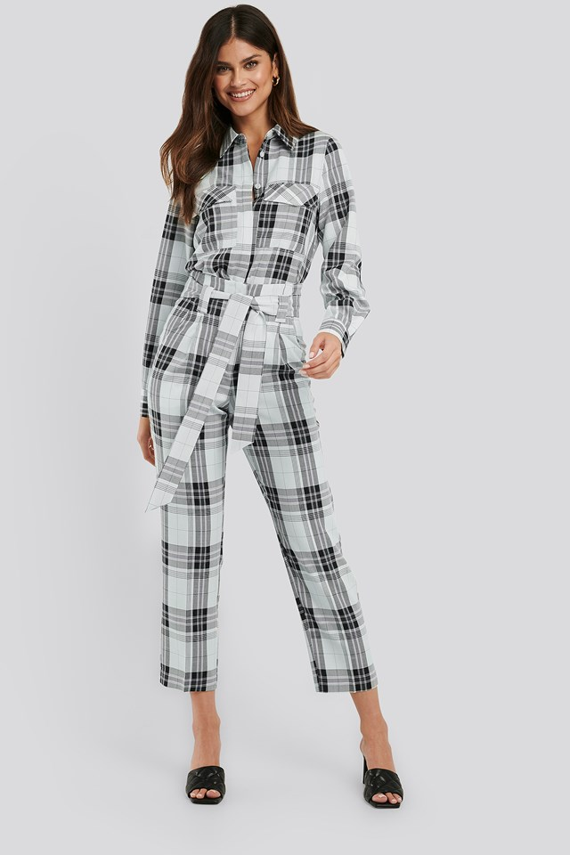 Plaid Belted Suit Pants Plaid