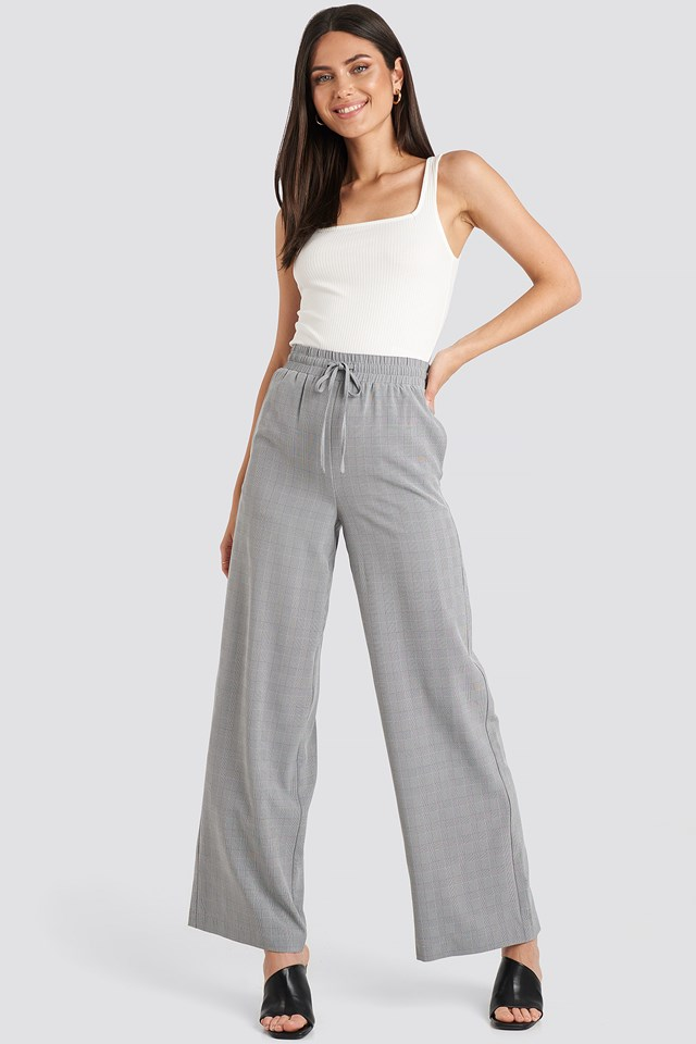 Plaid Relaxed Suit Pants Grey Check