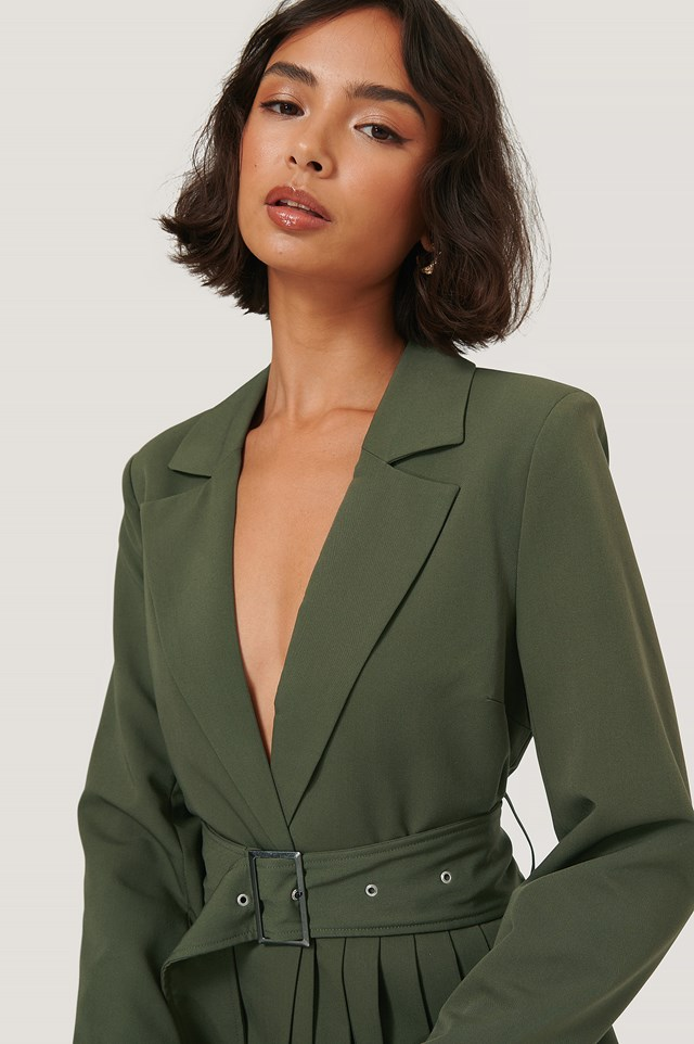 Pleat Detail Belted Blazer Dark Green