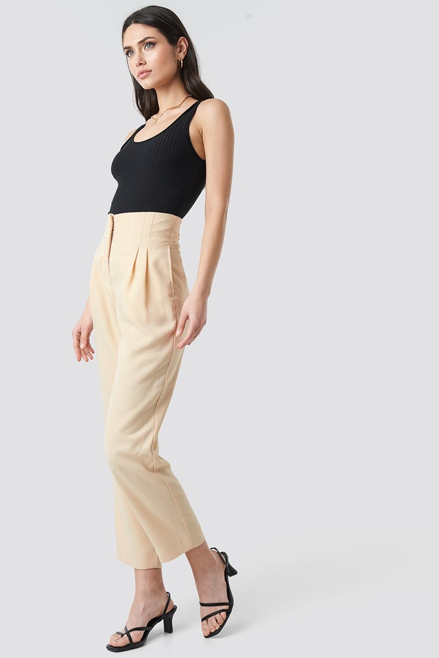 Pleat Detail High Waist Pants Beige