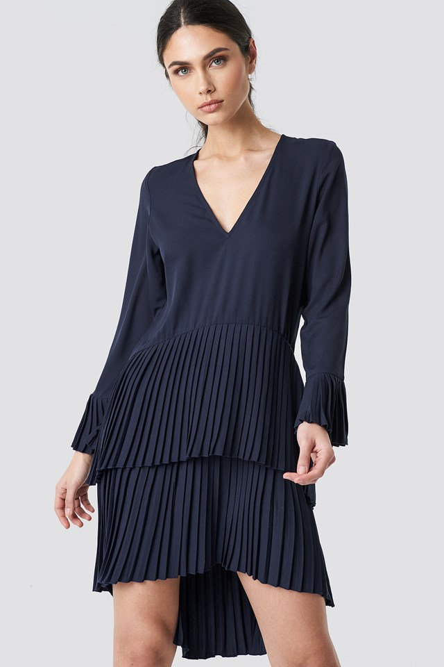 Pleat Detail Layered Mini Dress Dark Blue