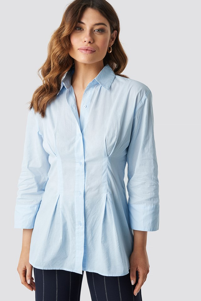 Pleat Detail Oversized Shirt Light Blue