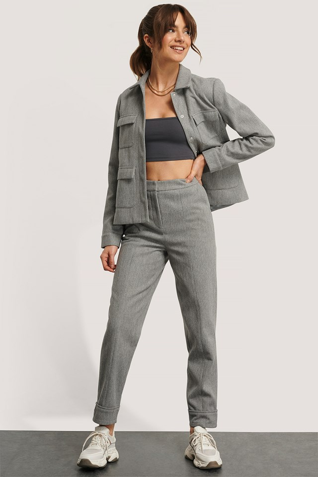 Pleat Front Pants Grey Check