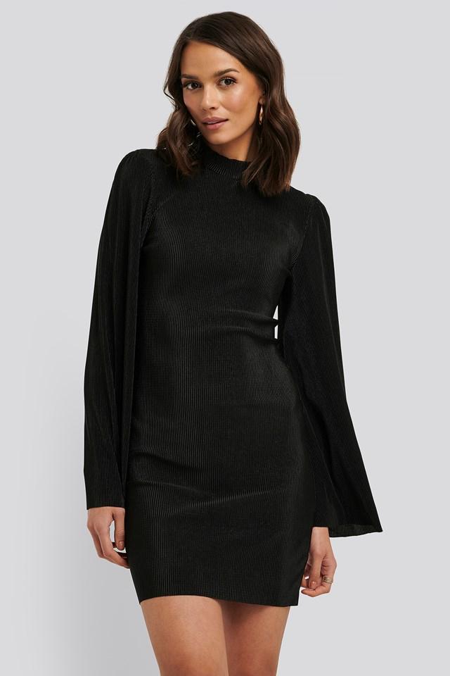 Pleated Collar Mini Dress Black