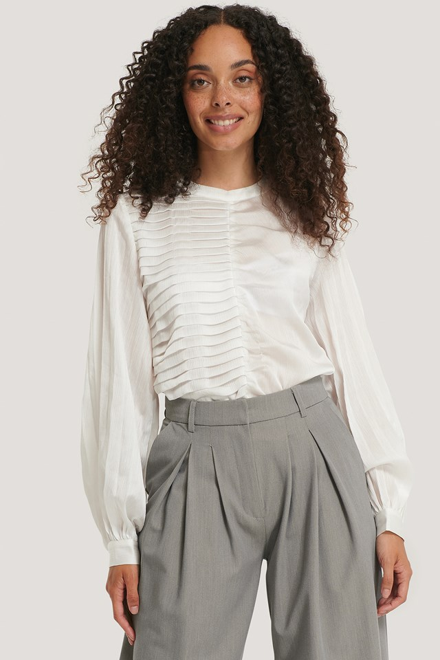 Pleated Detail Blouse White