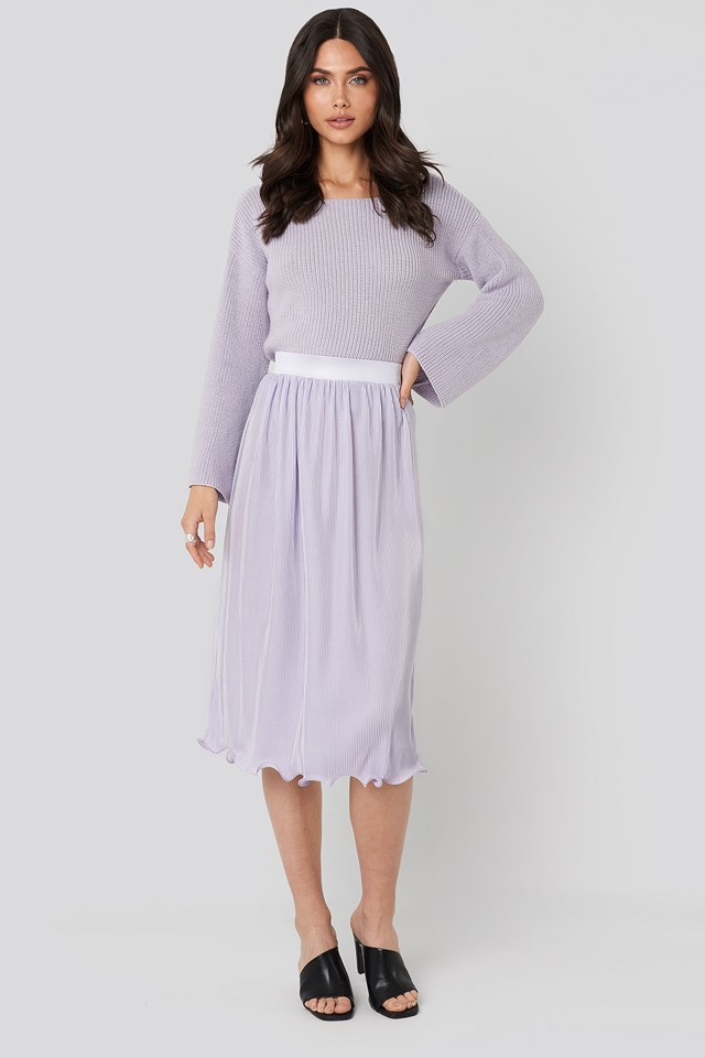 Light Purple Pleated Detailed Hem Skirt