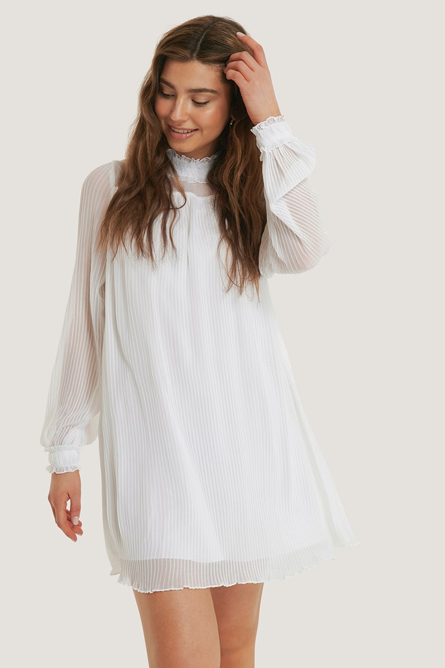 White Pleated Frill Neck Dress