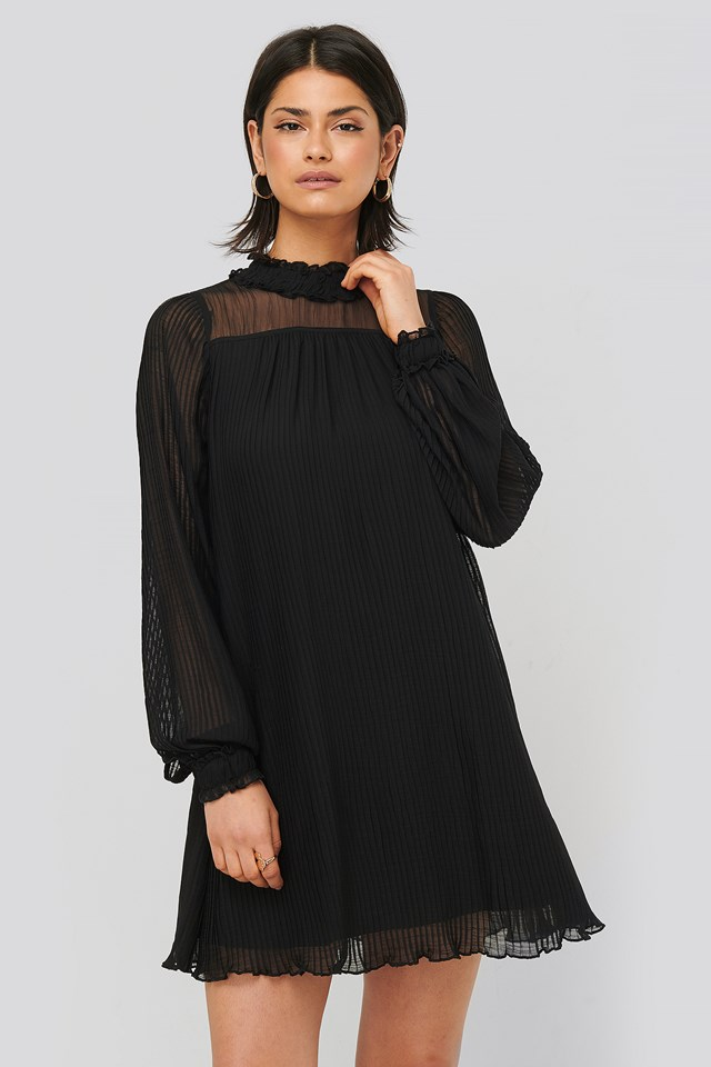 Black Pleated Frill Neck Dress