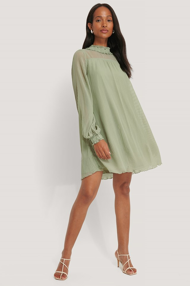Pleated Frill Neck Dress Dusty Green