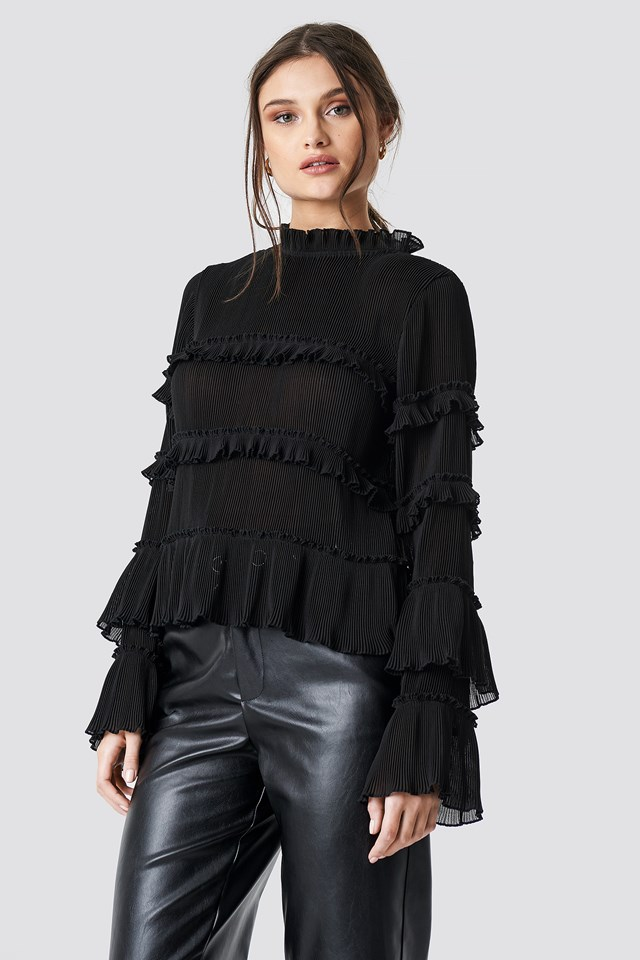 Black Pleated High Neck Frill Blouse