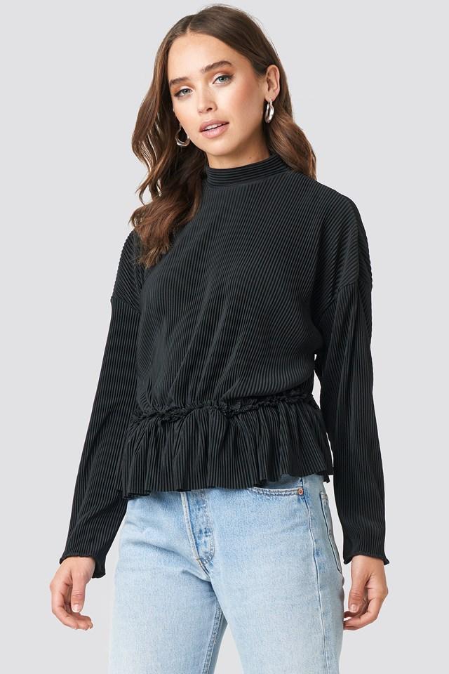 Black Pleated High Neck Long Sleeve Top