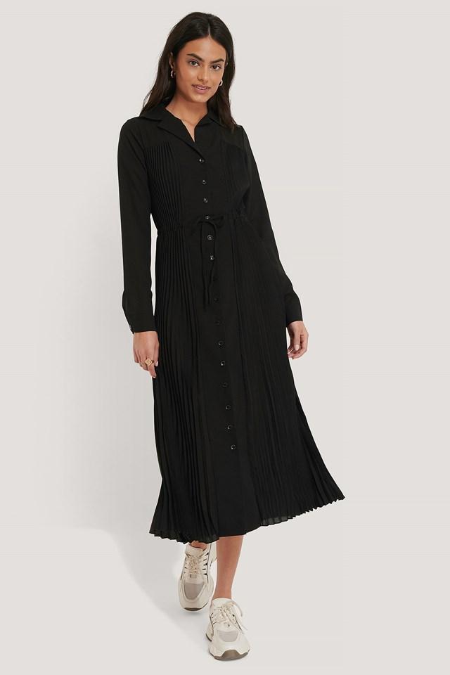 Pleated Maxi Dress Black