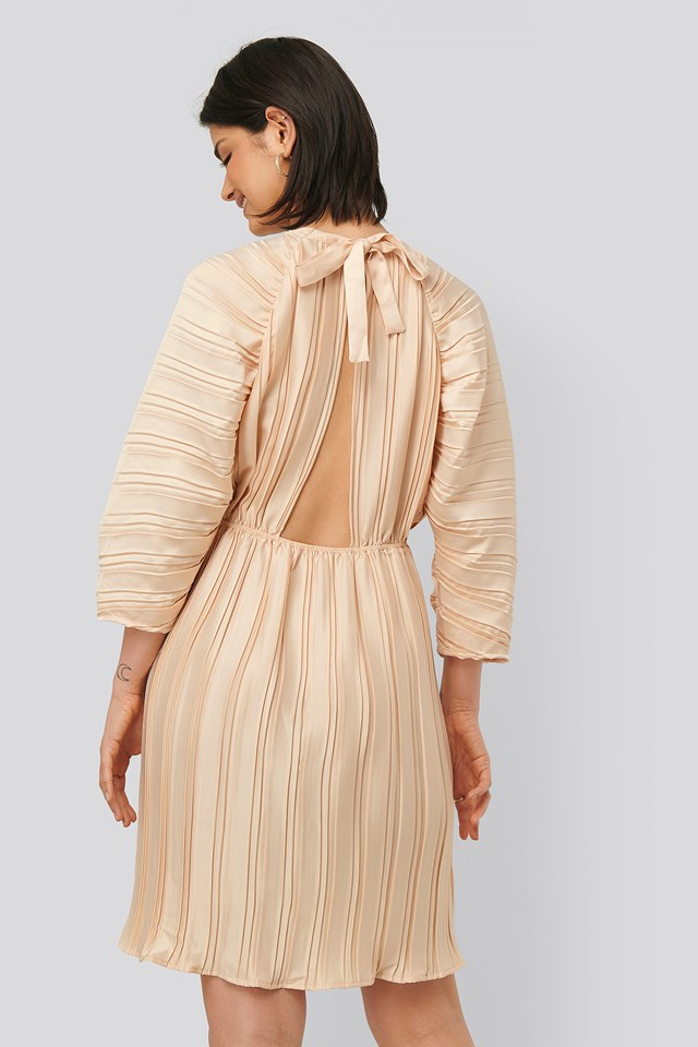 Pleated Open Back Dress Light Pink