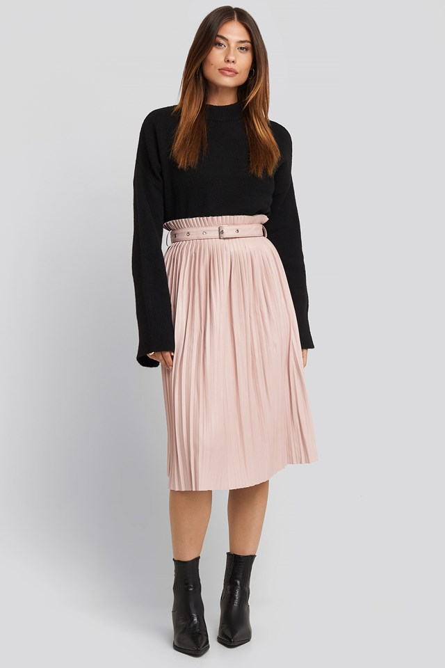 Dusty Pink Pleated Pu Belt Skirt