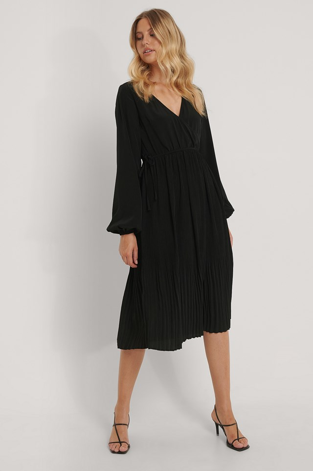 Black Pleated Skirt Midi Wrap Dress