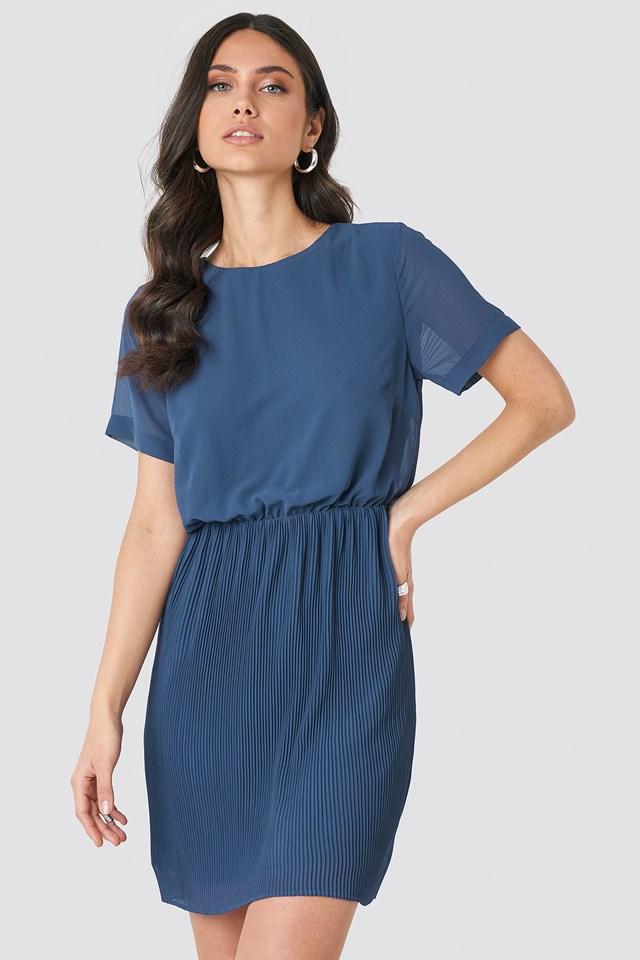 Pleated Skirt Part Dress Dark Dusty Blue