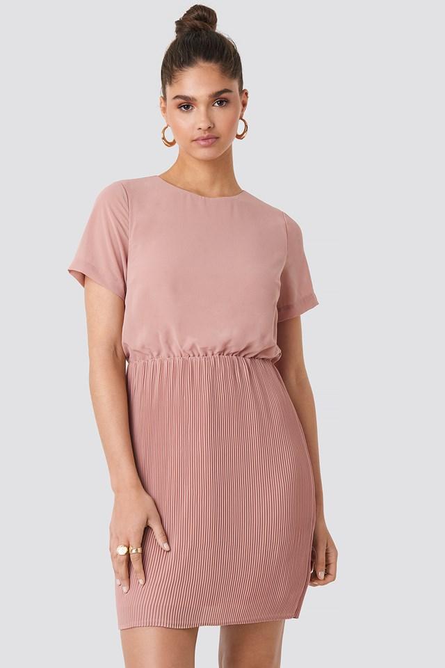 Powder Pink Pleated Skirt Part Dress