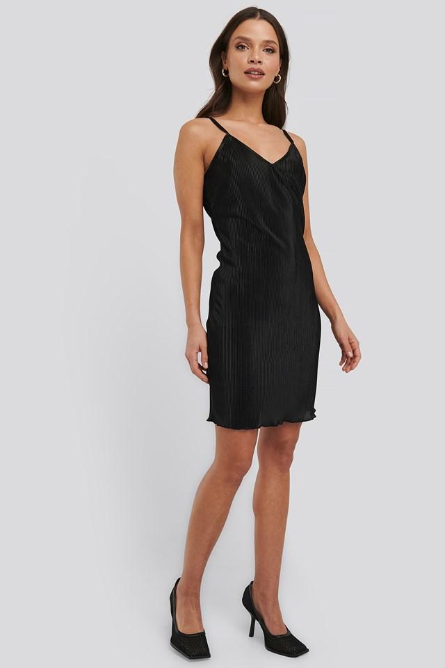 Pleated Slip Dress Black